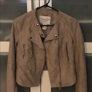 American Rag - tan suede Moto jacket - size Medium